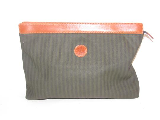 Fendi Timeless Style Clutch/Cosmetic Excellent Vintage Pequin Leather Print black/grey thin stripe/cognac Clutch Image 1