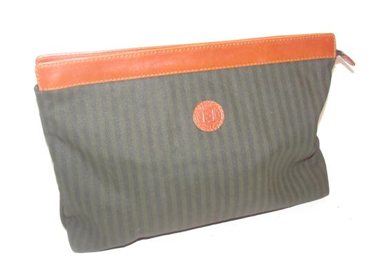Fendi Timeless Style Clutch/Cosmetic Excellent Vintage Pequin Leather Print black/grey thin stripe/cognac Clutch Image 11