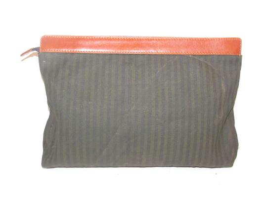 Fendi Timeless Style Clutch/Cosmetic Excellent Vintage Pequin Leather Print black/grey thin stripe/cognac Clutch Image 3