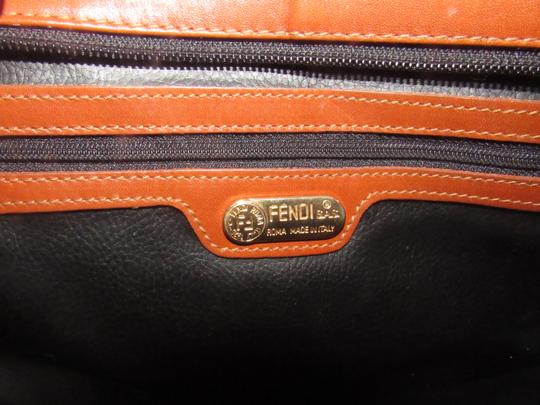 Fendi Timeless Style Clutch/Cosmetic Excellent Vintage Pequin Leather Print black/grey thin stripe/cognac Clutch Image 5