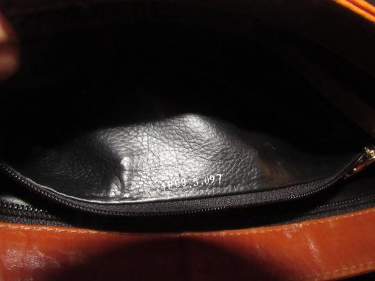 Fendi Timeless Style Clutch/Cosmetic Excellent Vintage Pequin Leather Print black/grey thin stripe/cognac Clutch Image 6