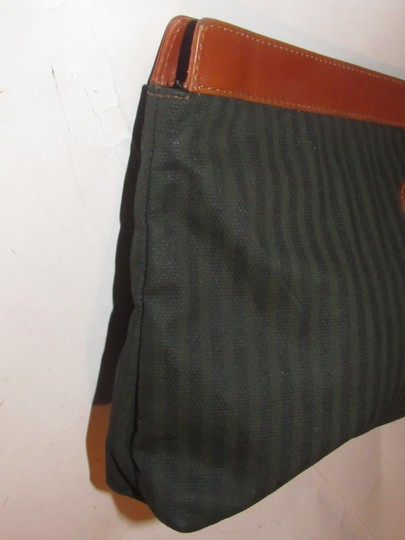Fendi Timeless Style Clutch/Cosmetic Excellent Vintage Pequin Leather Print black/grey thin stripe/cognac Clutch Image 8