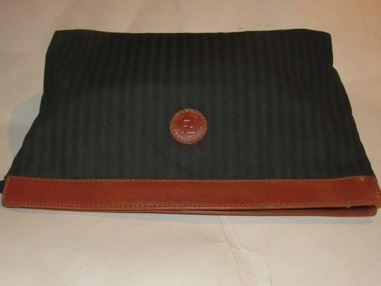Fendi Timeless Style Clutch/Cosmetic Excellent Vintage Pequin Leather Print black/grey thin stripe/cognac Clutch Image 9