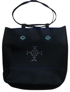 Nanette Lepore Tote in black leather with royal blue suede interior
