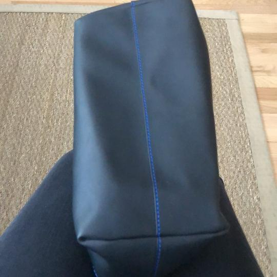 Nanette Lepore Tote in black leather with royal blue suede interior Image 6