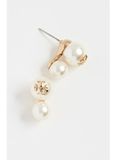 Tory Burch NWT TORY BURCH CRYSTAL PEARL DOUBLE STUD EARRINGS W DUST BAG W LOGO Image 1