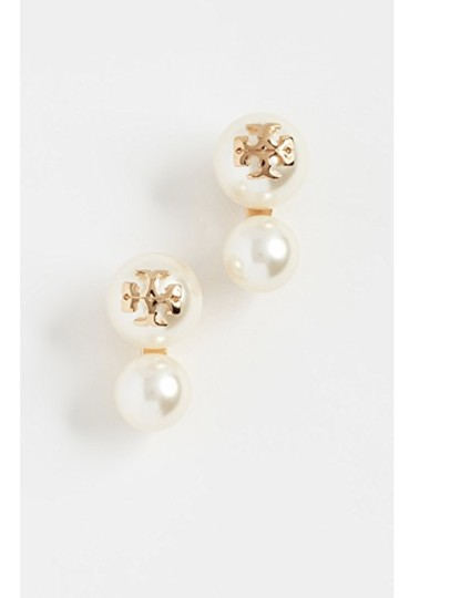 Tory Burch NWT TORY BURCH CRYSTAL PEARL DOUBLE STUD EARRINGS W DUST BAG W LOGO Image 3