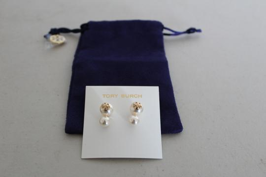 Tory Burch NWT TORY BURCH CRYSTAL PEARL DOUBLE STUD EARRINGS W DUST BAG W LOGO Image 5