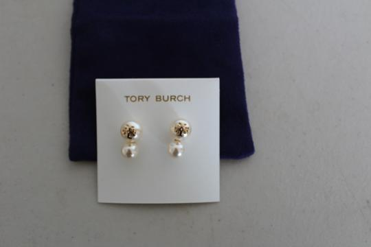 Tory Burch NWT TORY BURCH CRYSTAL PEARL DOUBLE STUD EARRINGS W DUST BAG W LOGO Image 6