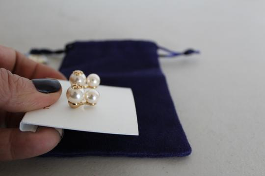 Tory Burch NWT TORY BURCH CRYSTAL PEARL DOUBLE STUD EARRINGS W DUST BAG W LOGO Image 7