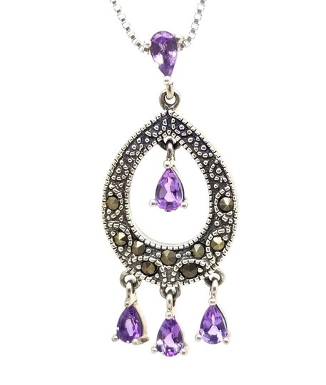 Preload https://img-static.tradesy.com/item/23405326/purple-edwardian-100cttw-pear-amethyst-round-hematite-dangle-drop-pendant-necklace-0-0-540-540.jpg