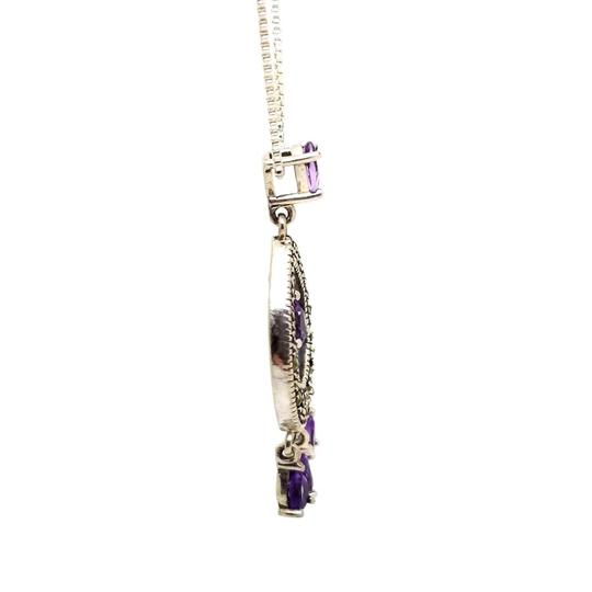 Cea Cross Edwardian 1.00cttw Pear Amethyst Round Hematite Dangle Drop Pendant Image 1