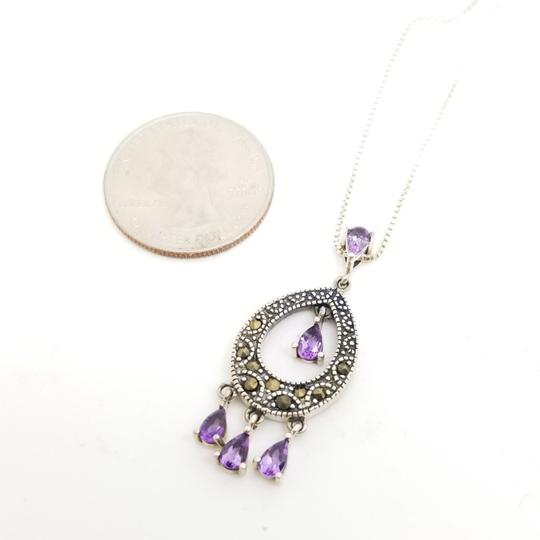 Cea Cross Edwardian 1.00cttw Pear Amethyst Round Hematite Dangle Drop Pendant Image 2
