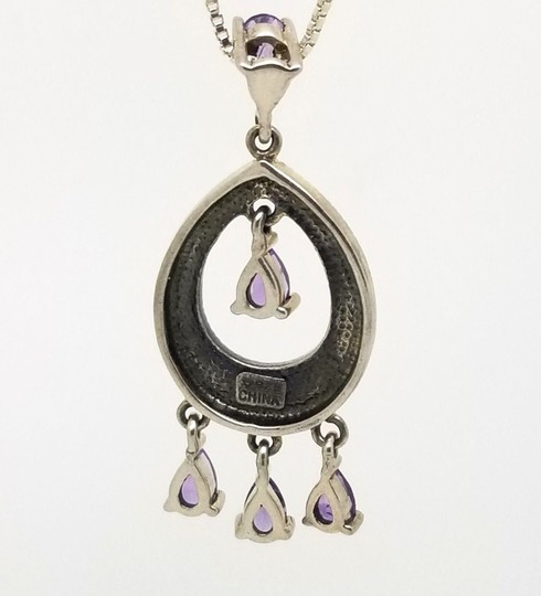 Cea Cross Edwardian 1.00cttw Pear Amethyst Round Hematite Dangle Drop Pendant Image 3