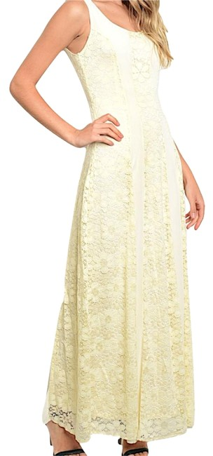 Item - Cream Sleeveless Floral Lace Contrast Panel Long Night Out Dress Size 4 (S)