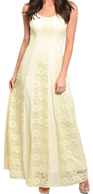 Preload https://img-static.tradesy.com/item/23405337/cream-sleeveless-floral-lace-contrast-panel-long-night-out-dress-size-12-l-0-3-650-650.jpg