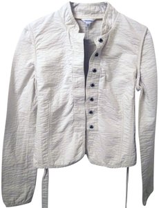 Calvin Klein Cropped Stand Up Collar Waffle Military Style Off white Jacket