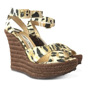 649e6c56c114e6 Jimmy Choo Animal Print Print Canvas Ankle Strap Brown Wedges