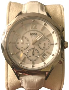 Boss by Hugo Boss Chronograph White Leather Band with Mother of Pearl Face