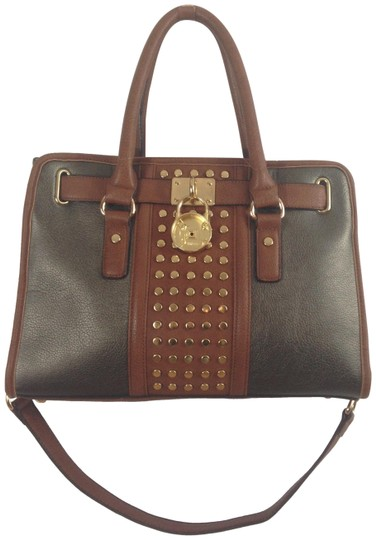 Preload https://img-static.tradesy.com/item/23405473/tote-studed-with-lock-broken-grey-brown-leather-satchel-0-1-540-540.jpg