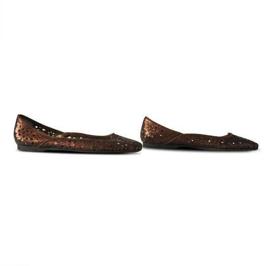 Jimmy Choo Cut-out Metallic Leather Rubber Bronze Flats Image 3