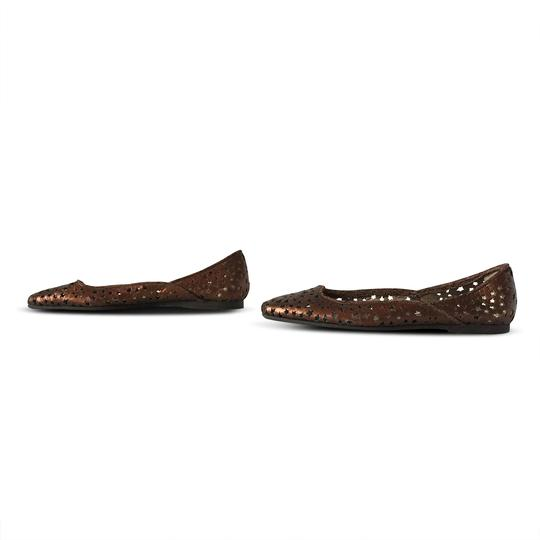 Jimmy Choo Cut-out Metallic Leather Rubber Bronze Flats Image 4