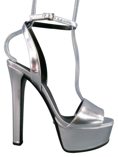 Item - Silver -leila- Patent Leather Ankle Strap Sandals Platforms Size US 8.5