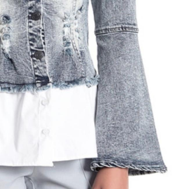 Alpha & Omega Front Buttondown Long Bell Sleeves Front Chest Pockets Button Cuffs Frayed Edges Top Denim Image 2