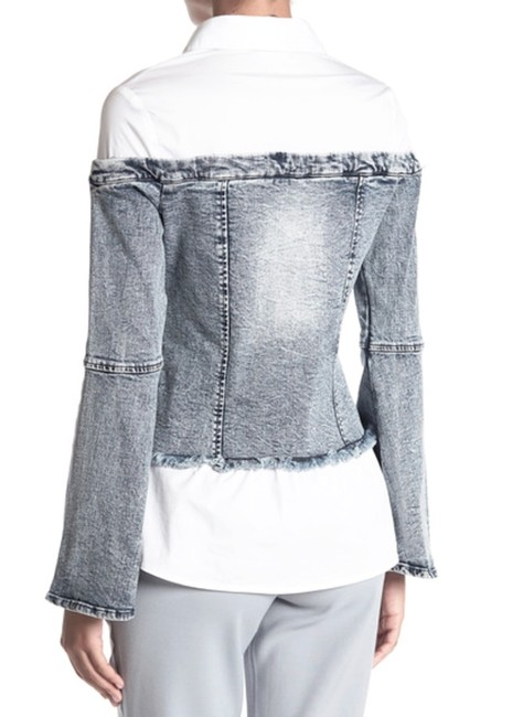 Alpha & Omega Front Buttondown Long Bell Sleeves Front Chest Pockets Button Cuffs Frayed Edges Top Denim Image 3