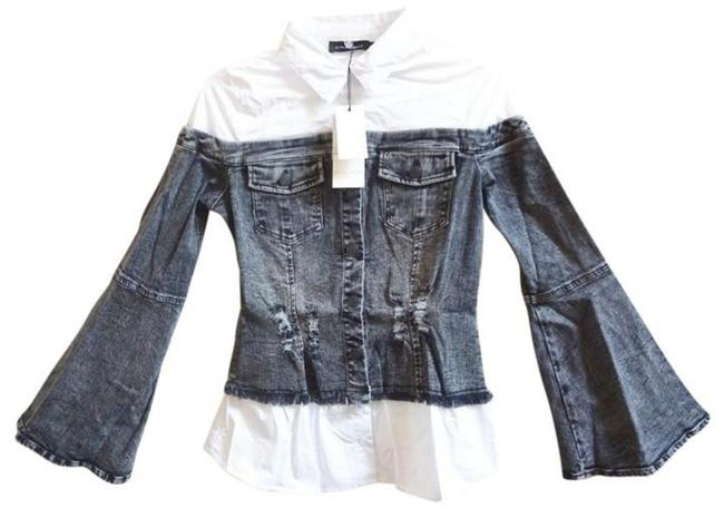 Alpha & Omega Front Buttondown Long Bell Sleeves Front Chest Pockets Button Cuffs Frayed Edges Top Denim Image 4
