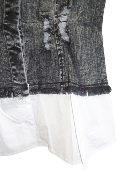 Alpha & Omega Front Buttondown Long Bell Sleeves Front Chest Pockets Button Cuffs Frayed Edges Top Denim Image 7