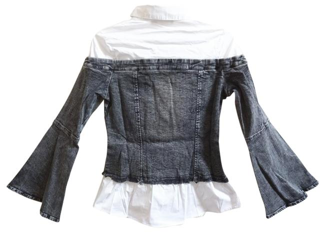 Alpha & Omega Front Buttondown Long Bell Sleeves Front Chest Pockets Button Cuffs Frayed Edges Top Denim Image 8