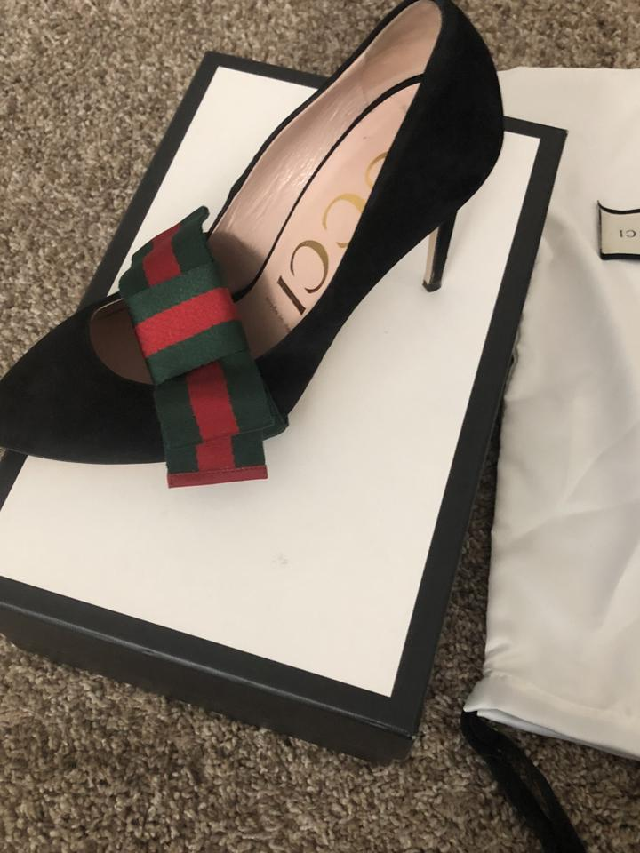 465e44b23e Gucci Black Suede with Removable Web Bow Pumps Size EU 38.5 (Approx. US  8.5) Regular (M, B) 12% off retail