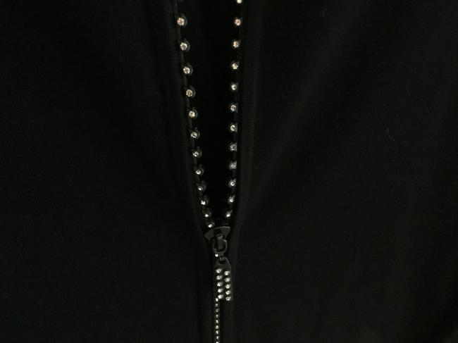 Belldini Expensive Look Great Cuffs Top Black with Champagne color trim and crystal sparkly zipper Image 2