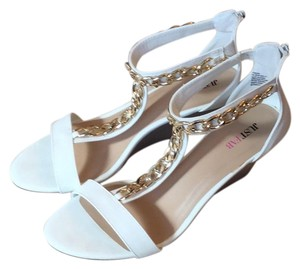 JustFab White with gold accents Wedges