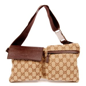 Gucci Monogram Waist Belt Canvas Classic Brown 6081 Travel Bag