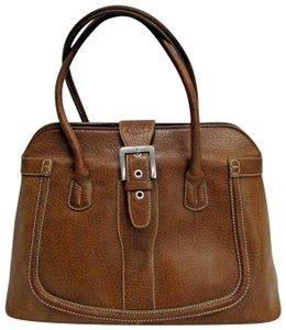 Tod's Leather Buckle Pebbled Satchel in brown