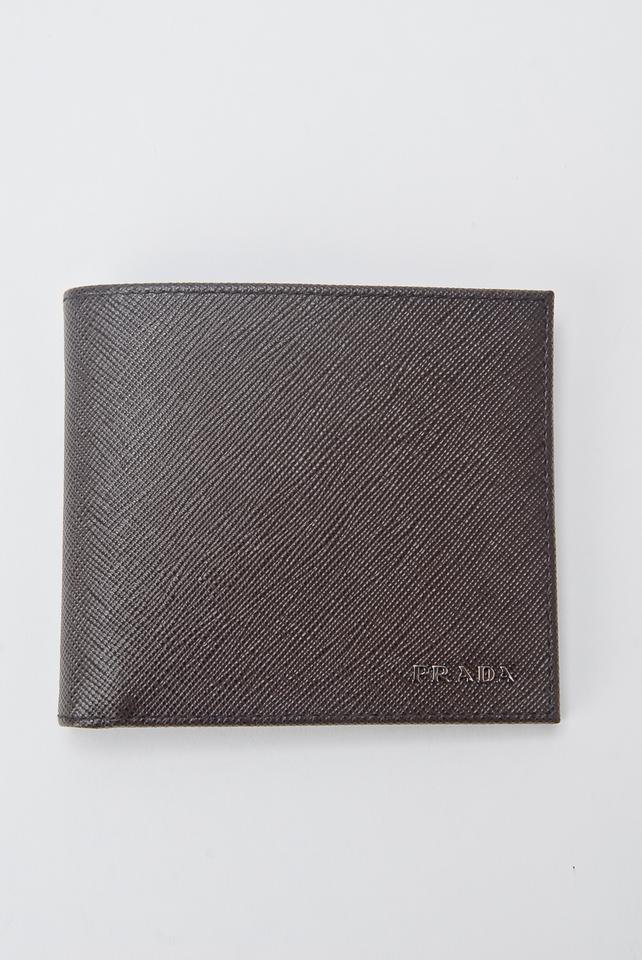 1e80b9fce00c ... spain prada prada saffiano cuir leather mens caffe brown and black bi  fold wallet. 12345