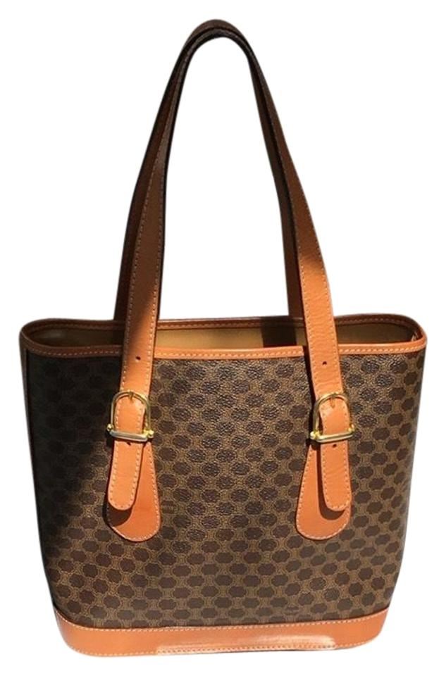 Céline Macadam Jacquard Bucket Handbag with Leather Trim and ... 1241f54bca38d