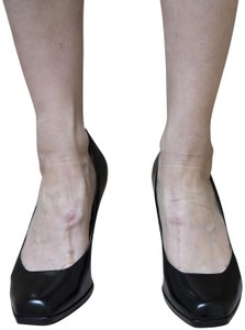 Cole Haan Collections Leather Square Toe Wood Heel Comfortable Sexy Black Pumps
