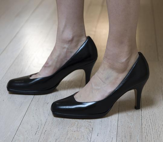 Cole Haan Collections Leather Square Toe Wood Heel Comfortable Sexy Black Pumps Image 1