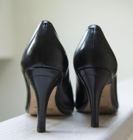 Cole Haan Collections Leather Square Toe Wood Heel Comfortable Sexy Black Pumps Image 4