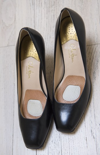 Cole Haan Collections Leather Square Toe Wood Heel Comfortable Sexy Black Pumps Image 5