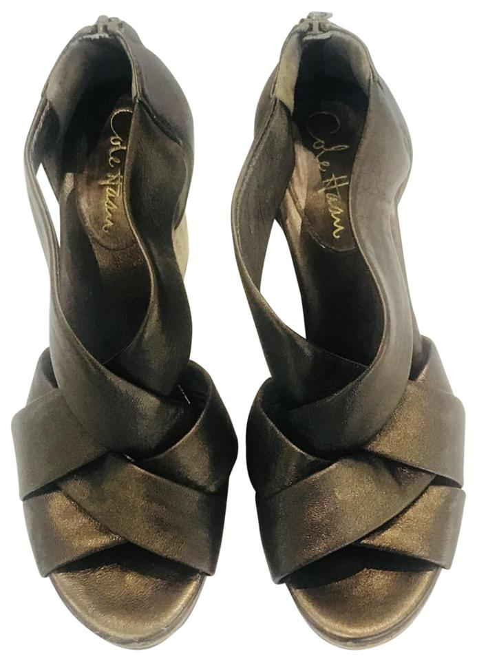 6bec7b550cfa Cole Haan Bronze Metallic Criss Wedges Size US 8 Regular (M