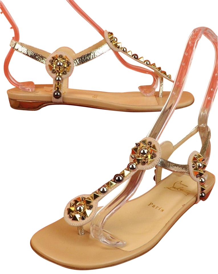 reputable site 496b0 ed528 Christian Louboutin Beige Kaleifra Suede Multi Spikes Studded Flats Sandals  Size EU 35 (Approx. US 5) Regular (M, B) 45% off retail