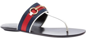 Gucci Gg Marmont Horsebit Thong Flip Flop Red White Blue Sandals