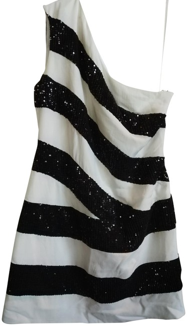 Redemption White Black S New Made In Italy One Shoulder Beaded Striped Short Night Out Dress Size 6 (S) Redemption White Black S New Made In Italy One Shoulder Beaded Striped Short Night Out Dress Size 6 (S) Image 1
