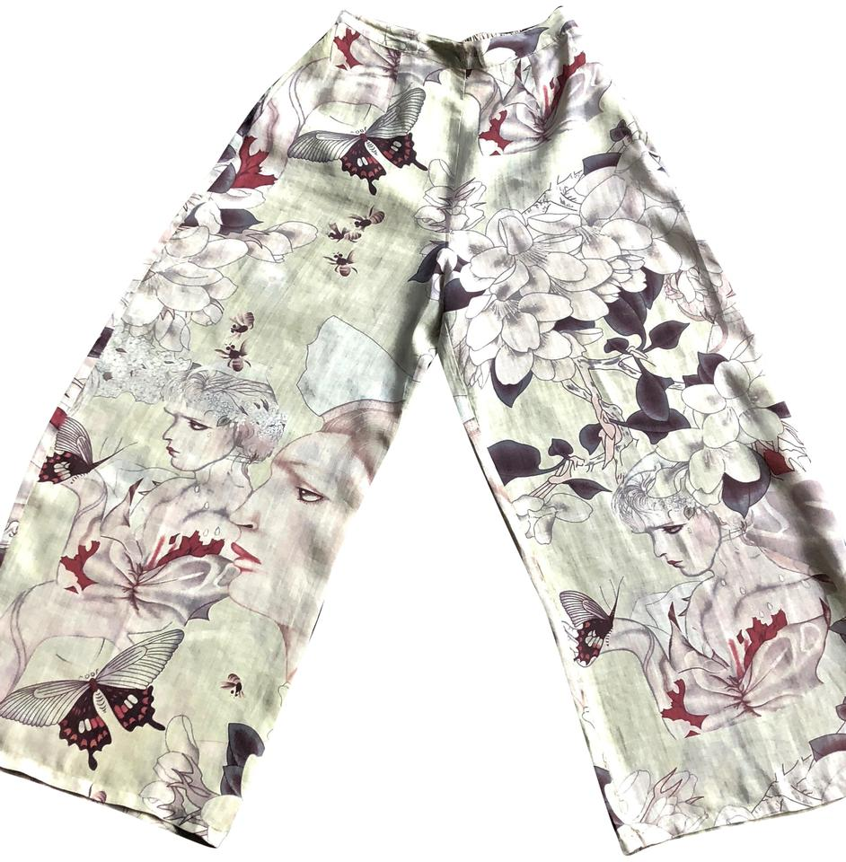 9d34765b161 Citron Light Green Butterfly and Floral Wide Leg Pants Size 6 (S