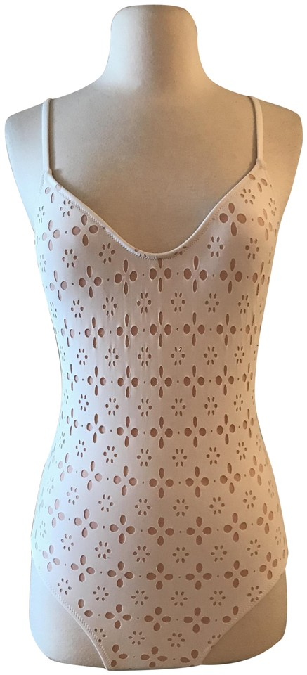 fe0a032f834 J.Crew Ivory Blush Strappy Swimsuit In Laser-cut Eyelet One-piece Bathing  Suit