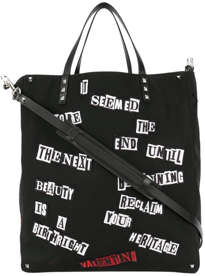 Valentino Canvas Patch Studded Tote in Black Image 0